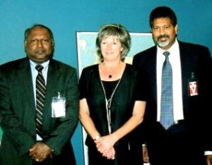CSLBC officials Upali Obeyesekere & Ganesan Sugumar with Canada's High Commissioner in Sri Lanka Ms. Angela Bogdan.