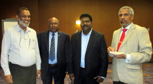 Leader, HDCC Delegation to Canada Mr. Azmi Thassim with Upali Obeyesekere, Kula Sellathurai and Consul General Mr. U.L.M. Jauhar at a reception hosted by Canada-Sri Lanka Business Council on September 8, 2015, for a visiting delegation from Hambantota District Chamber of Commerce.